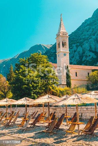 old european brick church in mountains. montenegro