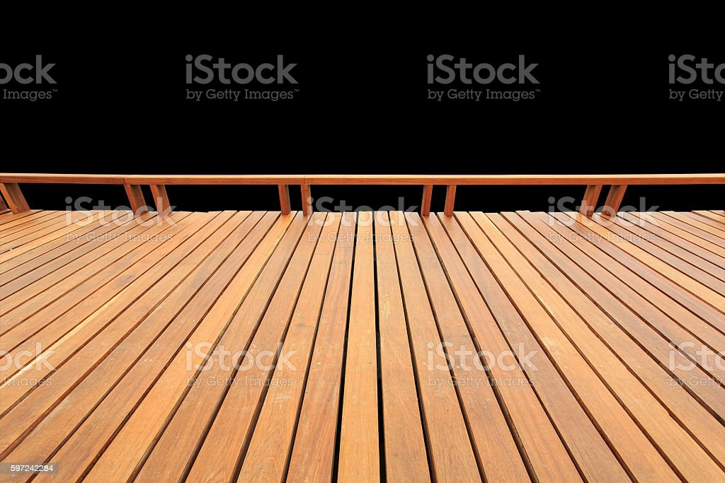 Old exterior wooden decking or flooring isolated on black. Saved stock photo