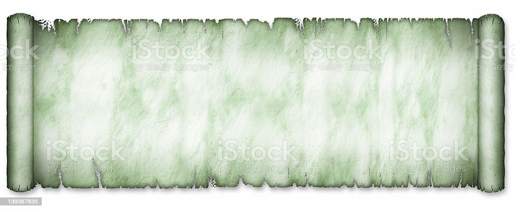 Old Extra Wide Green Scroll Partially Unrolled royalty-free stock photo