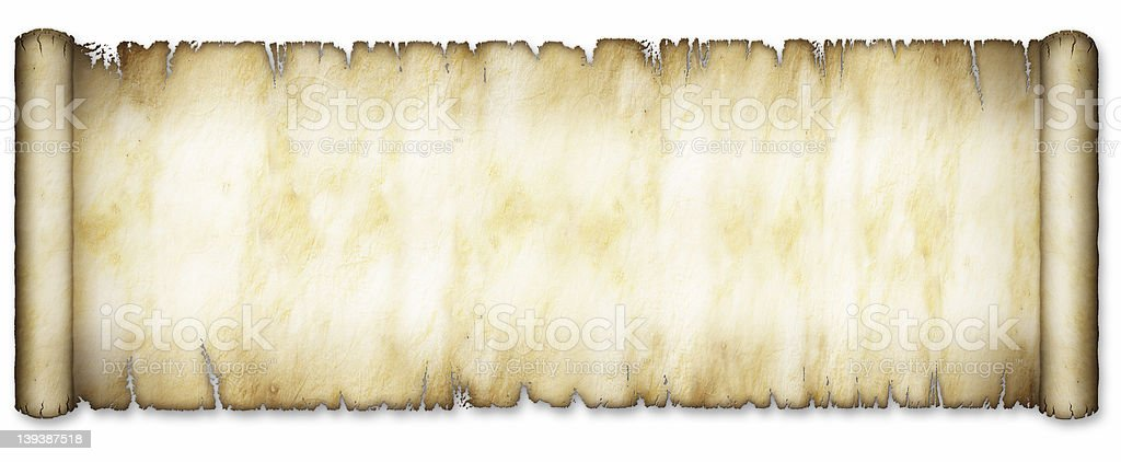 Old Extra Wide Scroll Partially Unrolled stock photo