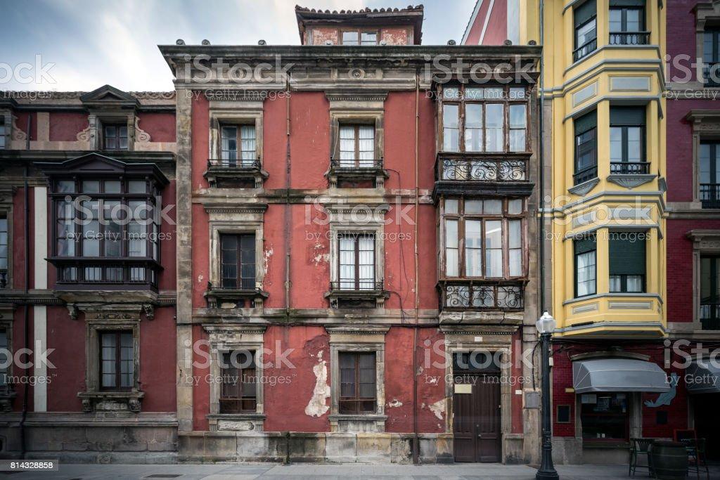 Old facade of a building stock photo