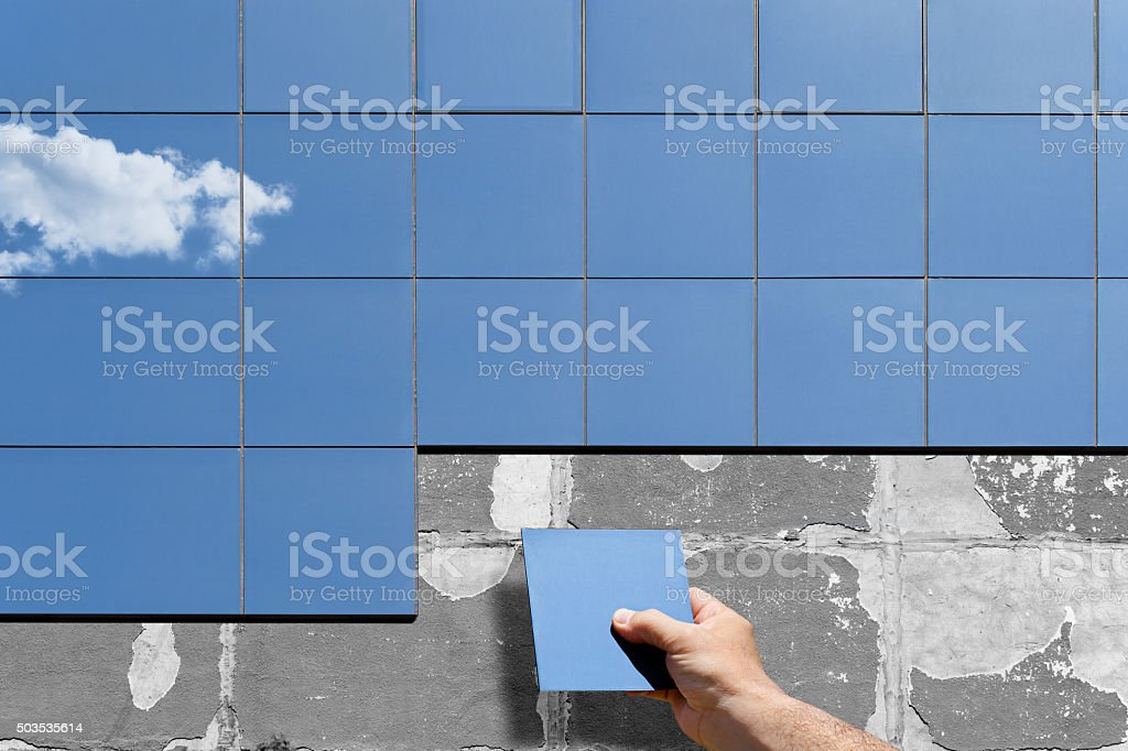 Old Facade Renovation and Isolation stock photo