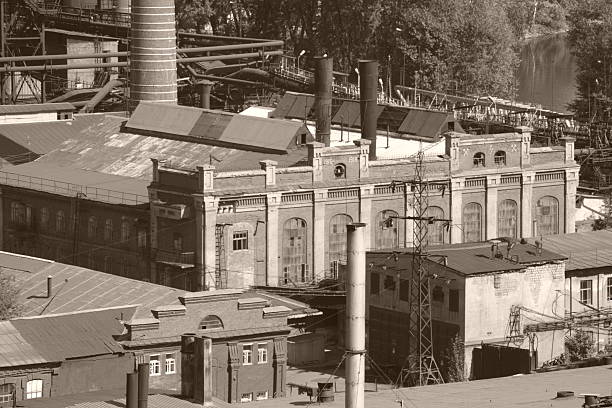 old factor my vintage photo with buildings - industrial revolution stock pictures, royalty-free photos & images