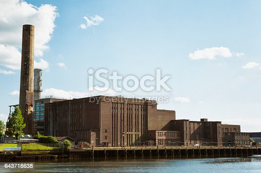 Old factory along the River Lee in the city of Cork in County Cork, Ireland.