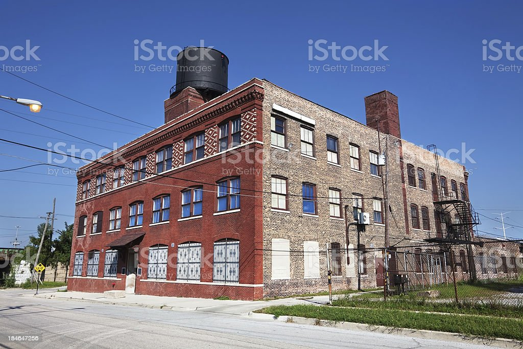 Old factory building in Washington Park, Chicago royalty-free stock photo