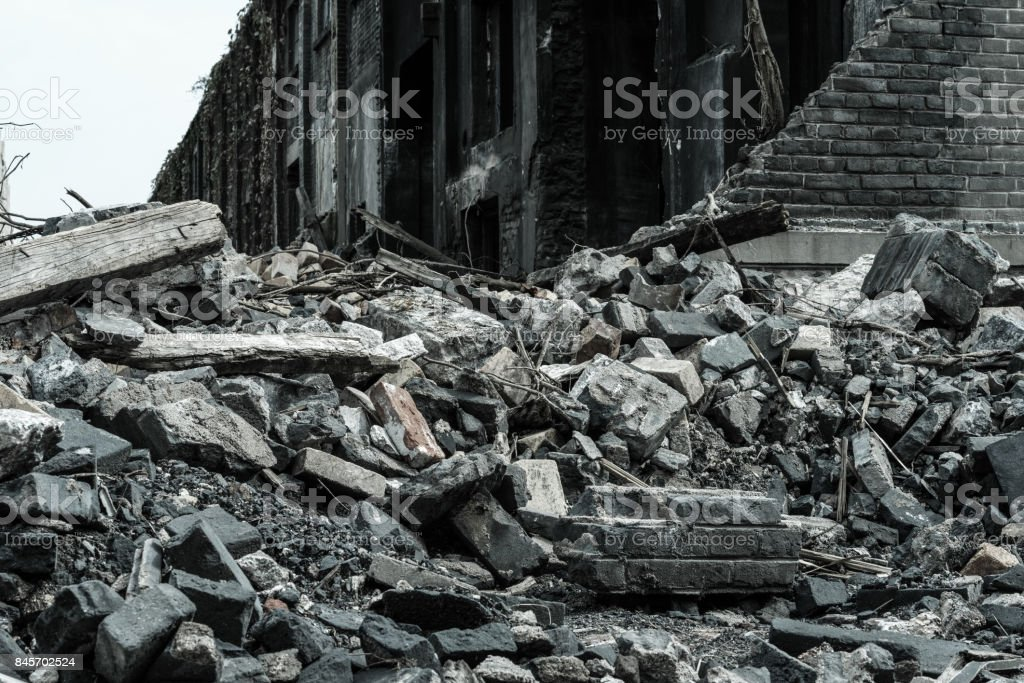 old factory buildings destroyed stock photo