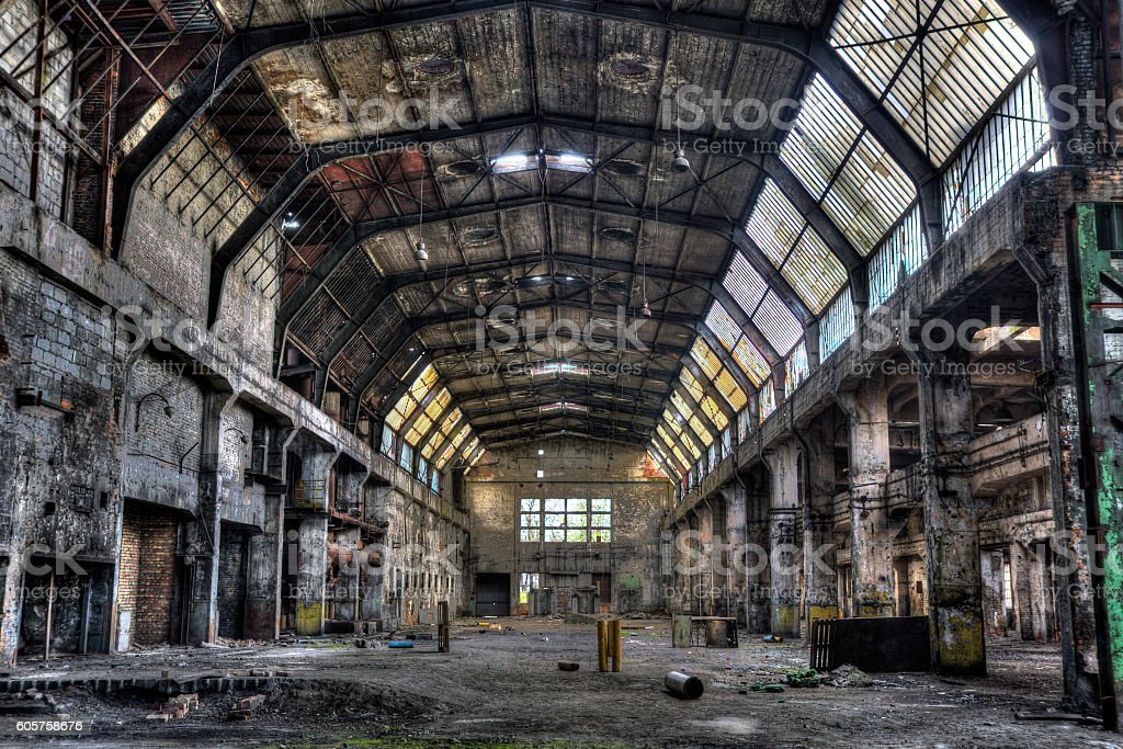 Old factory hall - HDR vivid image stock photo