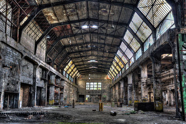 old factory hall - hdr vivid image - abandoned stock photos and pictures