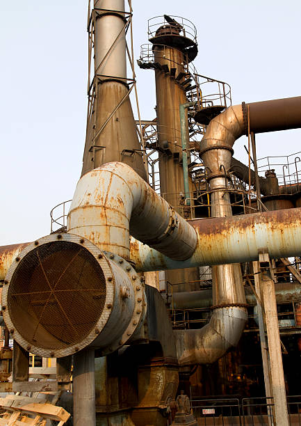 Old Factory Pipes, Vents, and Chimneys stock photo