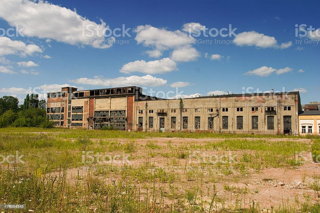 Old factory with height chimney stock photo