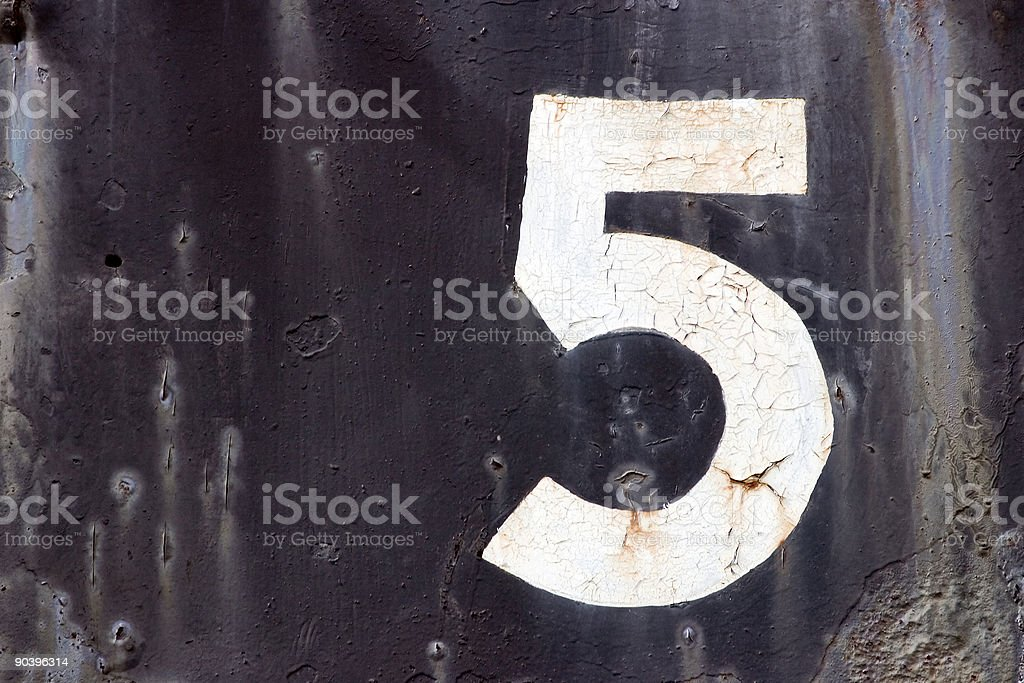 Old faded number five royalty-free stock photo