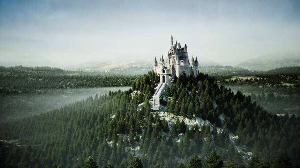 Old fairytale castle on the hill. aerial view. 3d rendering. stock photo