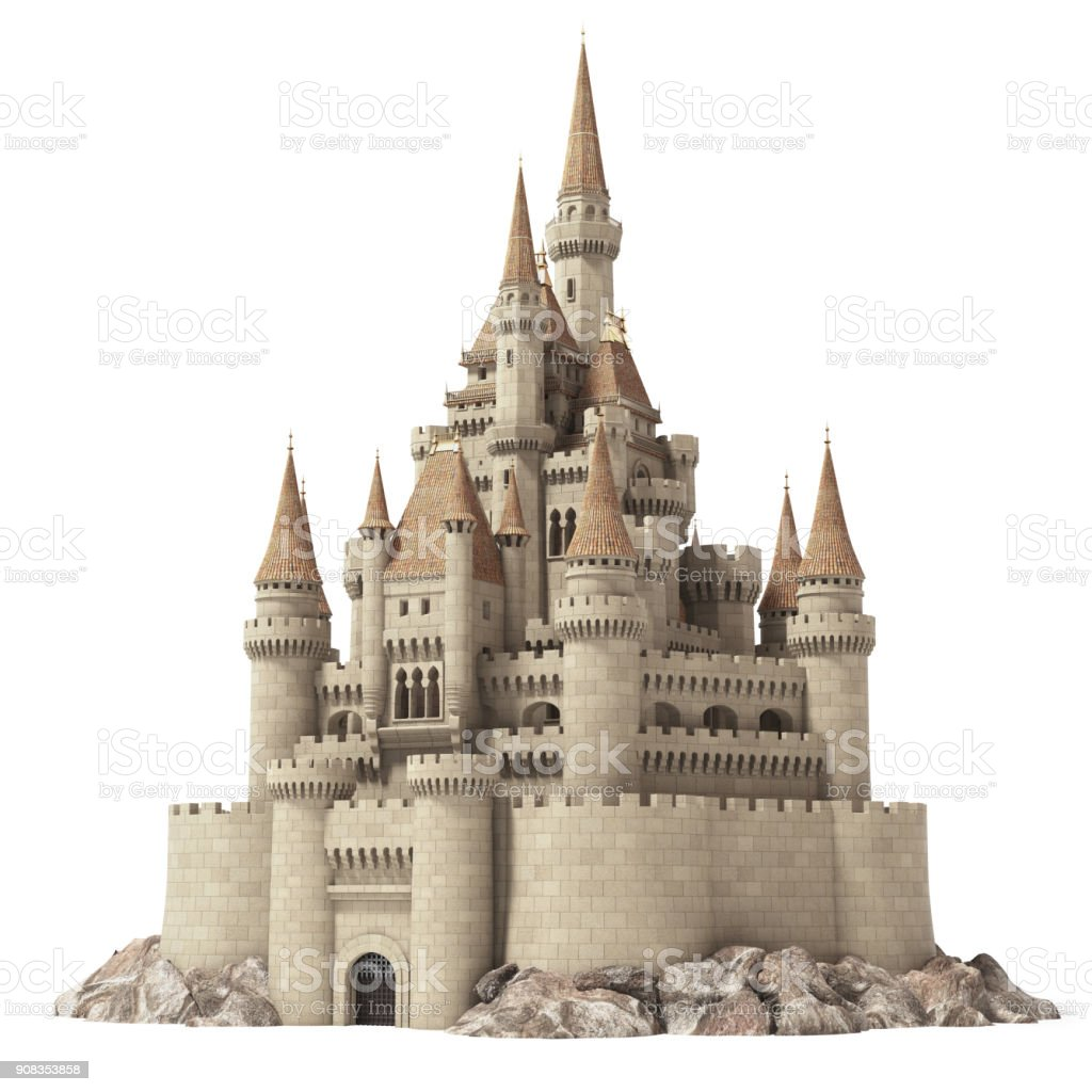 Old fairytale castle on the hill isolated on white. stock photo