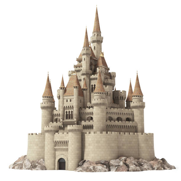 old fairytale castle on the hill isolated on white. - castle stock pictures, royalty-free photos & images