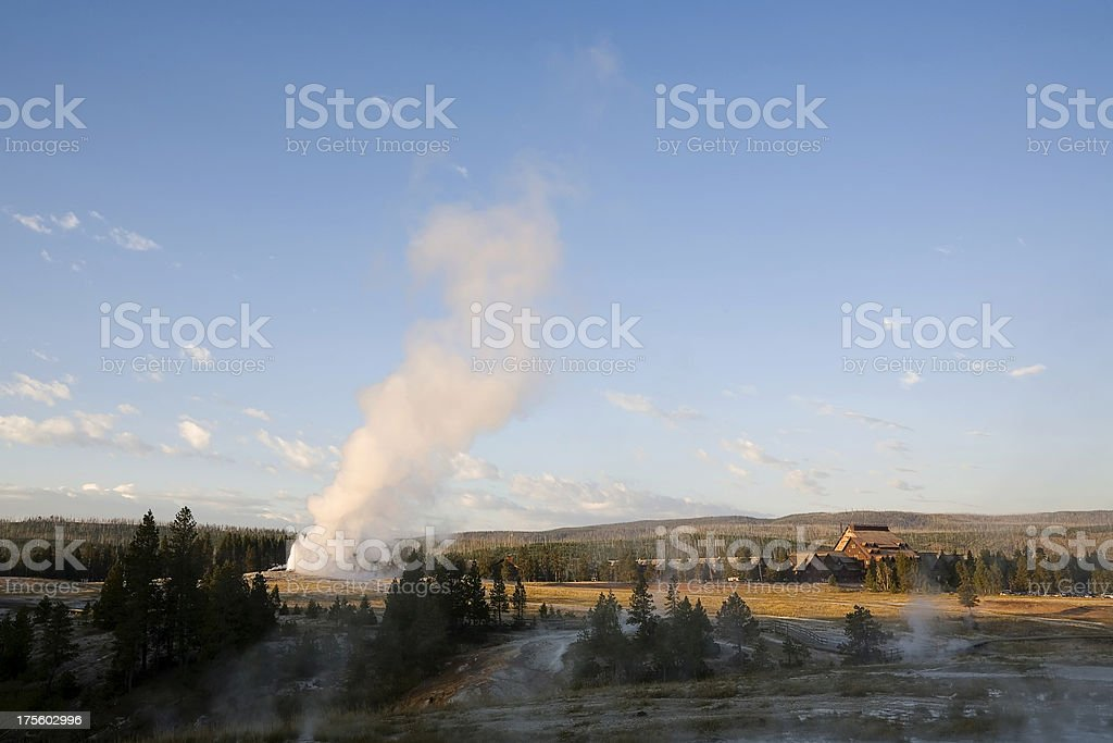 Old Faithful and Inn, Yellowstone stock photo