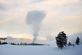 On a below zero morning, the plume of steam from the geyser blends into the clouds and mist of the Upper Geyser Basin in Yellowstone National Park