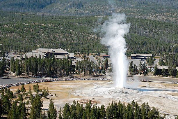 Old Faithful from Observation point stock photo