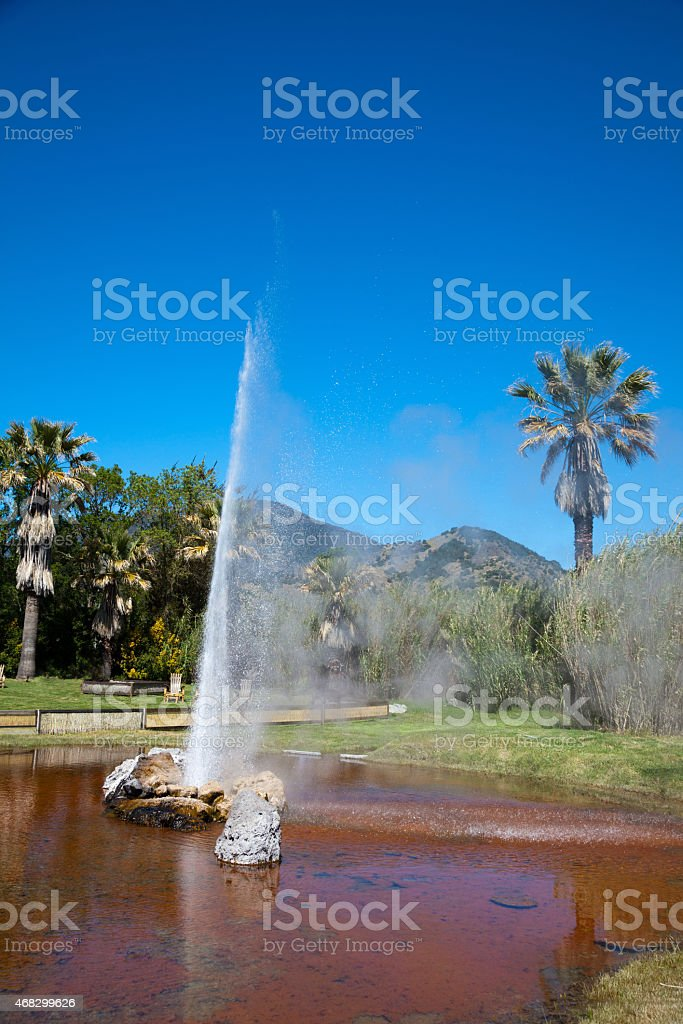 Old Faithful Geyser in Calistoga California stock photo