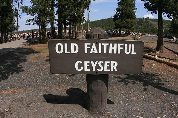 Old Faithful Geyser Sign stock photo