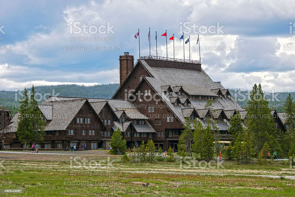 Old Faithful Inn, Yellowstone National Park, Wyoming, USA stock photo