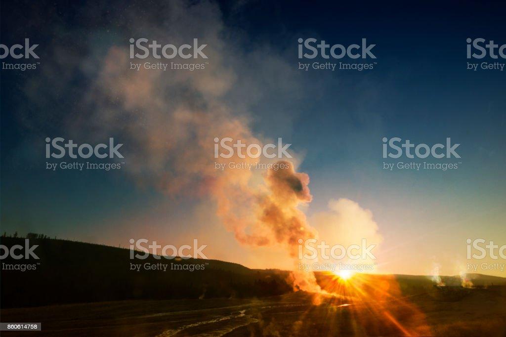 Old Faithful Yellowstone stock photo