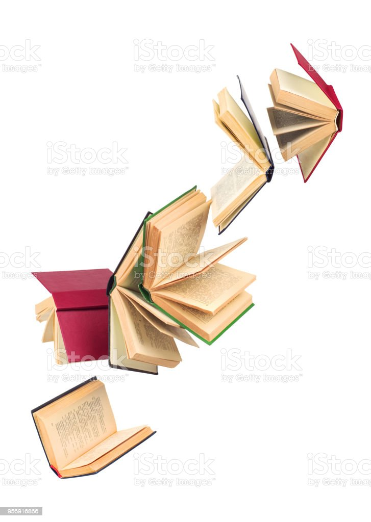 old falling books stock photo