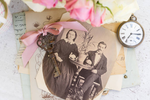 old family album old family album with vintage image of married couple sentimentality stock pictures, royalty-free photos & images