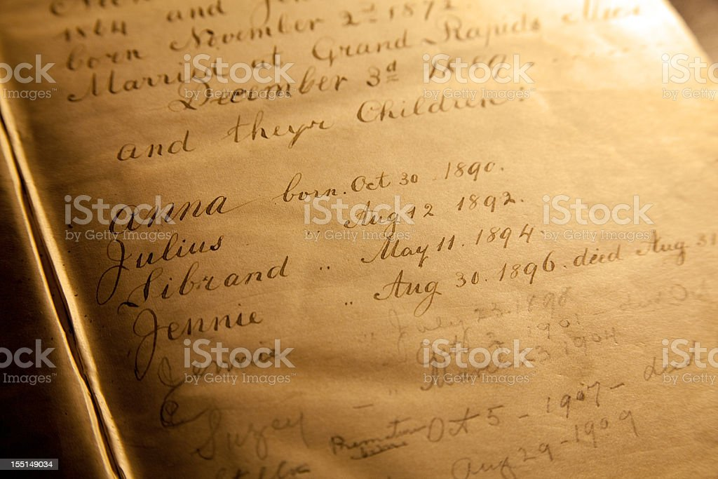 Old Family Birth and Death Register in Bible stock photo
