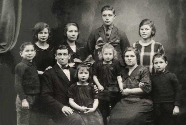 Old family photo stock photo