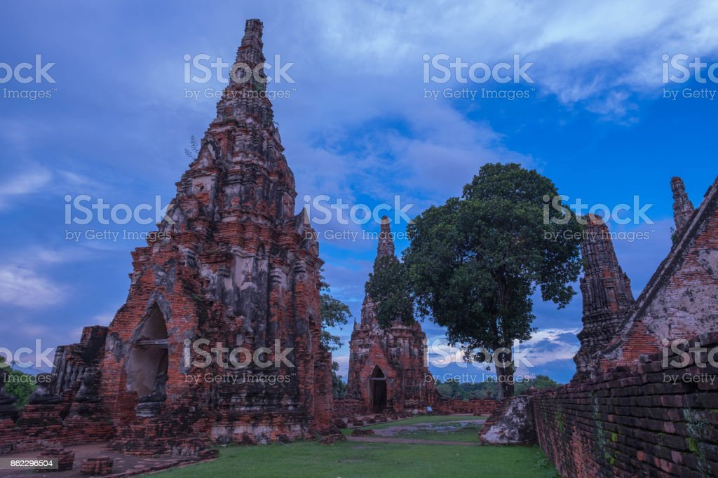 Old famous temple in Thailand world heritage stock photo