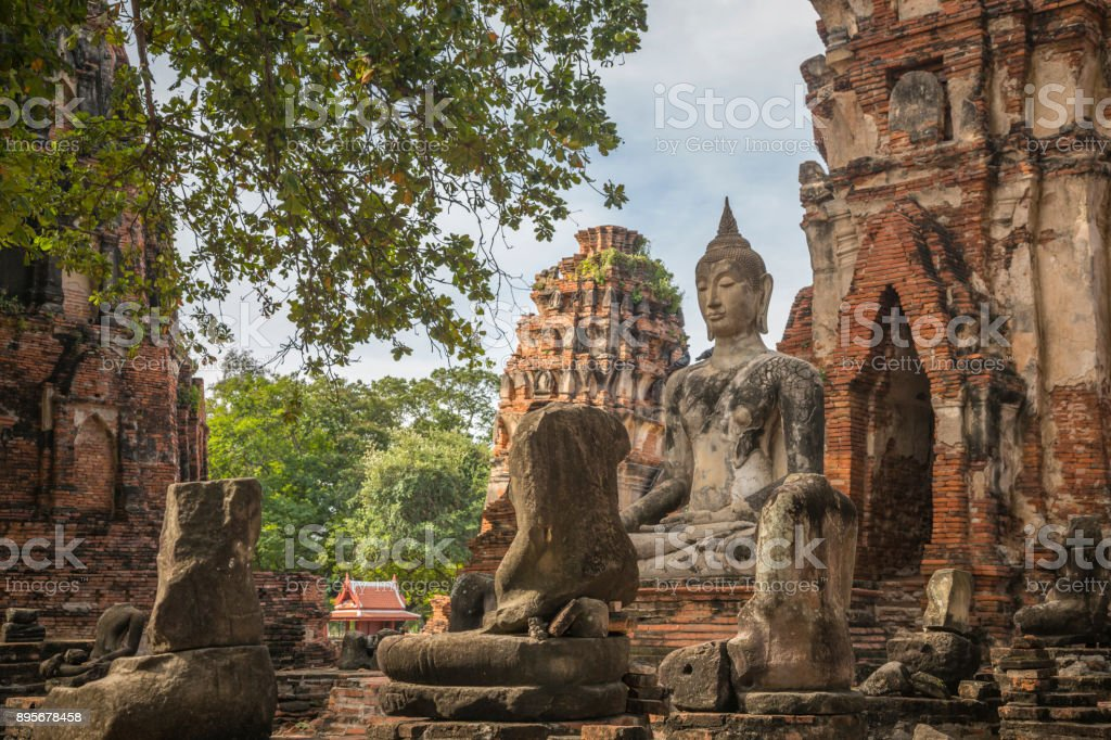 Old famous temple, Wat Yai Chaimongkol, in Thailand stock photo