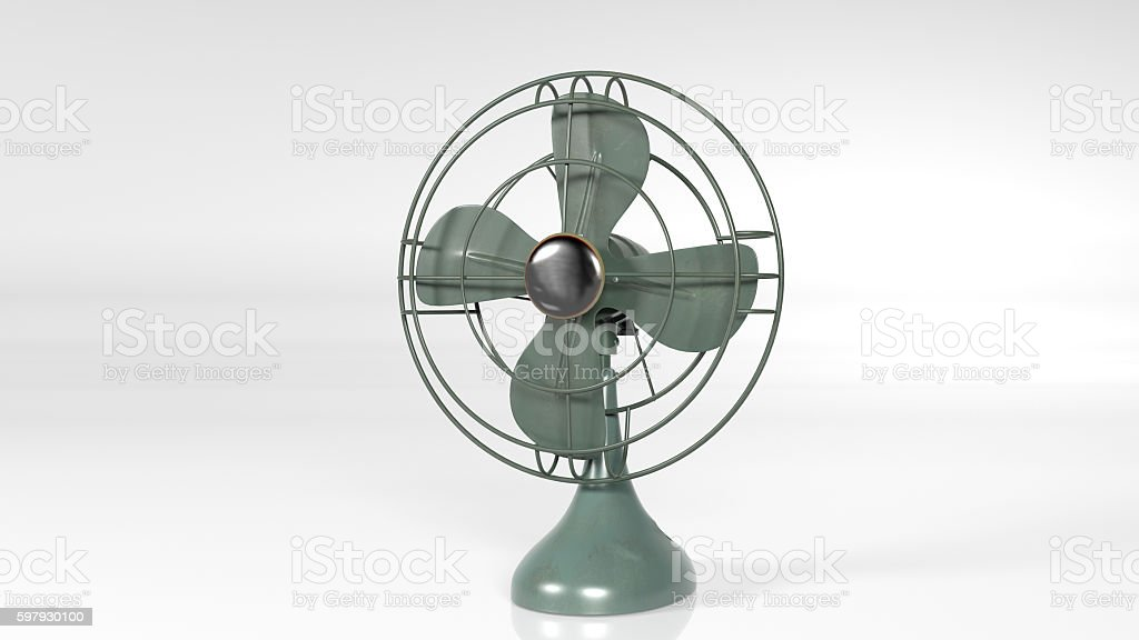 Old fan, vintage ventilator isolated on white background stock photo