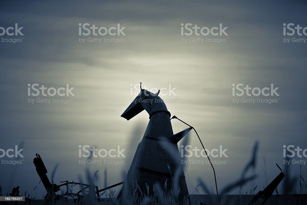 Old Farm Equipment Or Prairie Monster? royalty-free stock photo