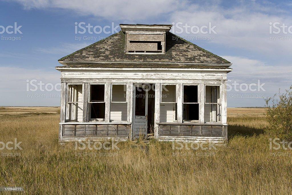 Old Farm House Alone on Prairie royalty-free stock photo