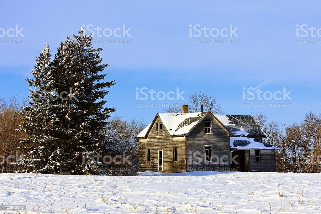 Old farm house in Winter royalty-free stock photo