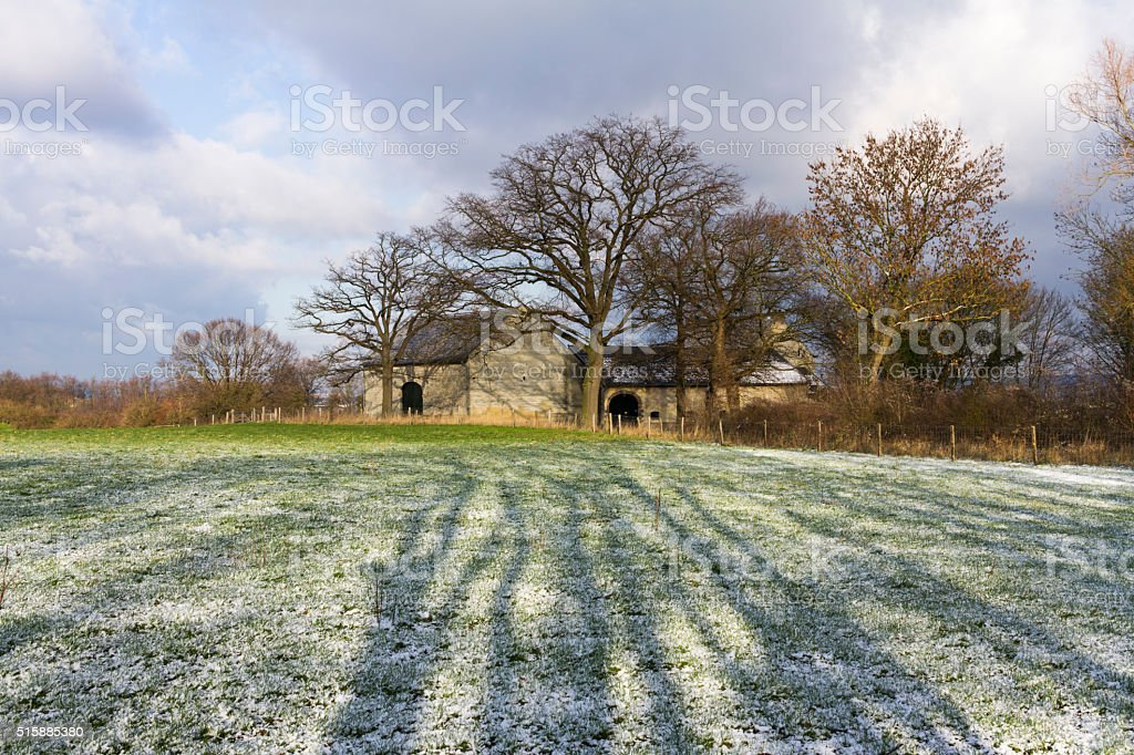 Old Farm Houses in Winter stock photo