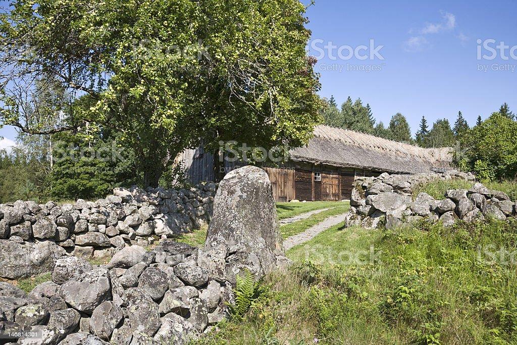 Old farm landscape stock photo