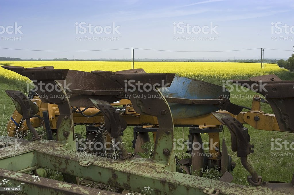 Old farm machinery against a yellow field royalty-free stock photo