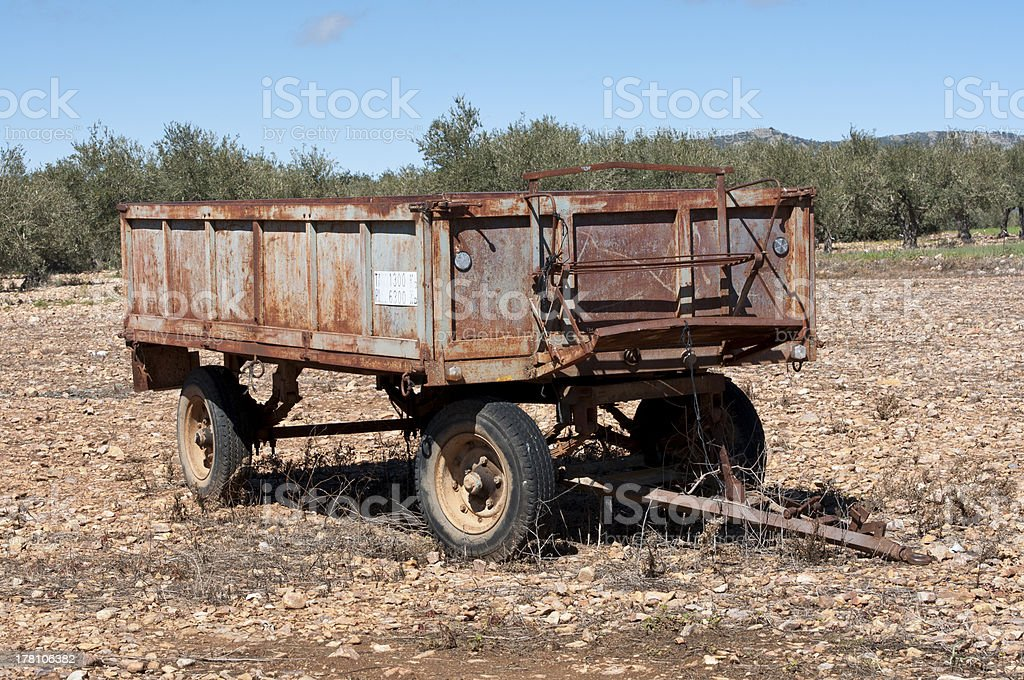 Old farm trailer stock photo