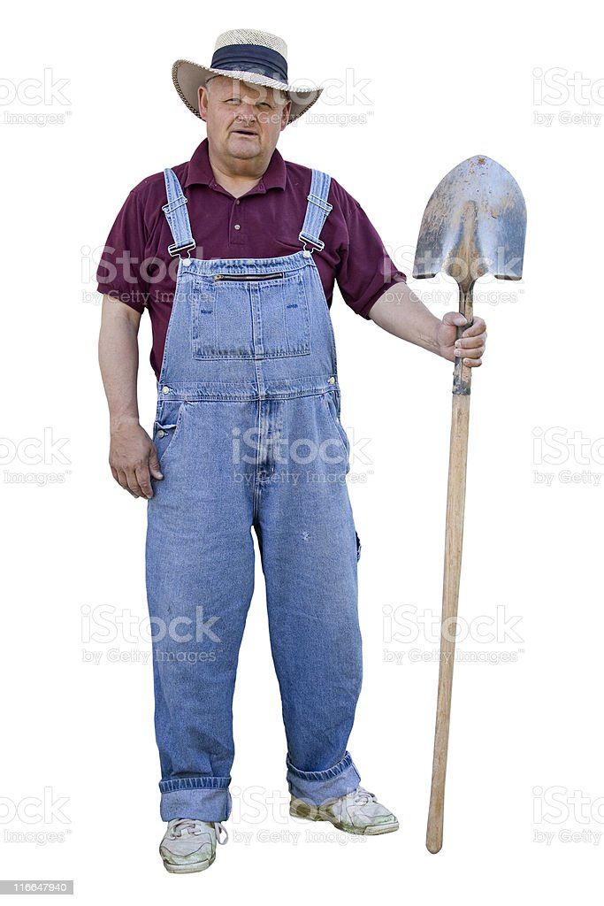 Old Farmer with overalls on stock photo
