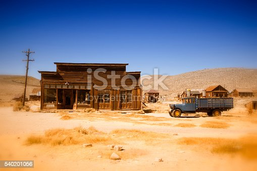 old wooden house and truck in Bodie, ghost town in California