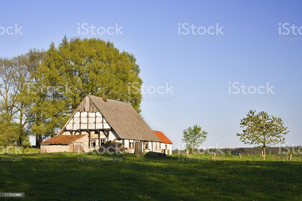 Old Farmhouse In Green Landscape stock photo