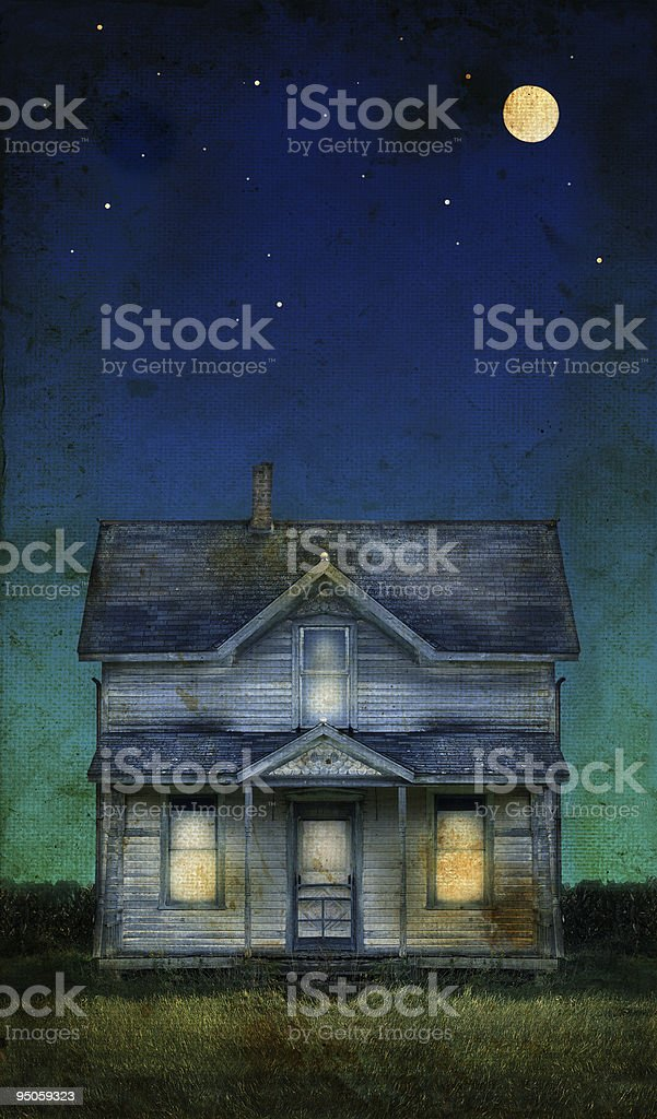 Old Farmhouse on a grunge background royalty-free stock photo