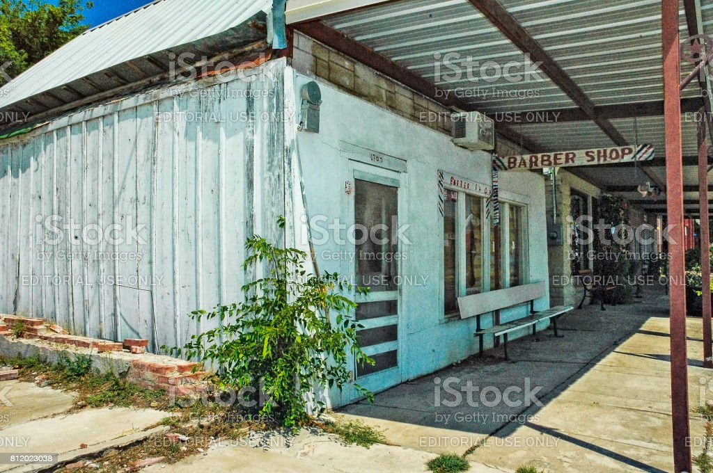 Old Fashion Country Barber Shop Crawford Texas stock photo