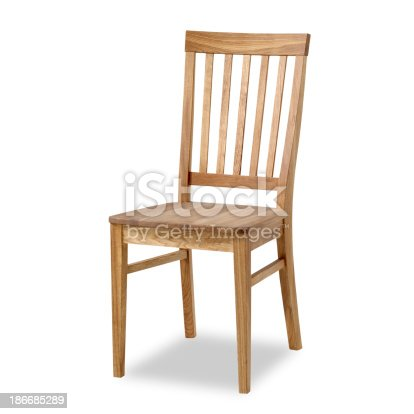 Dining room chair with clipping path. Studio isolated on white background.