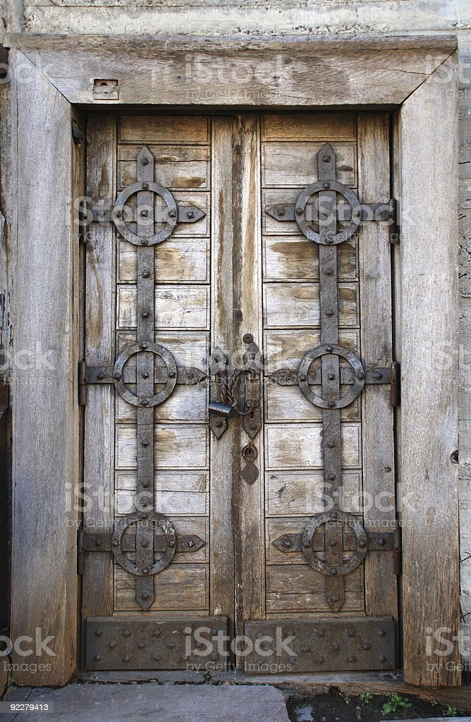 Old fashion door with lock royalty-free stock photo