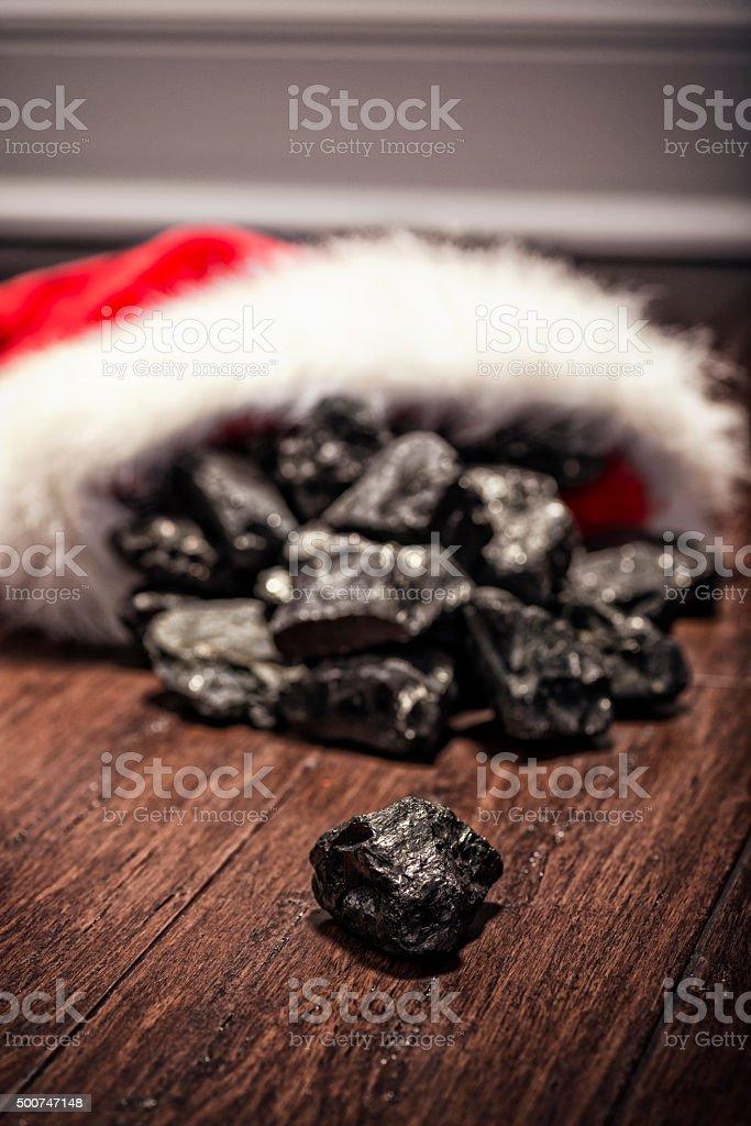 Old Fashion Gag Gift A Christmas Stocking Full Of Coal Stock Photo ...