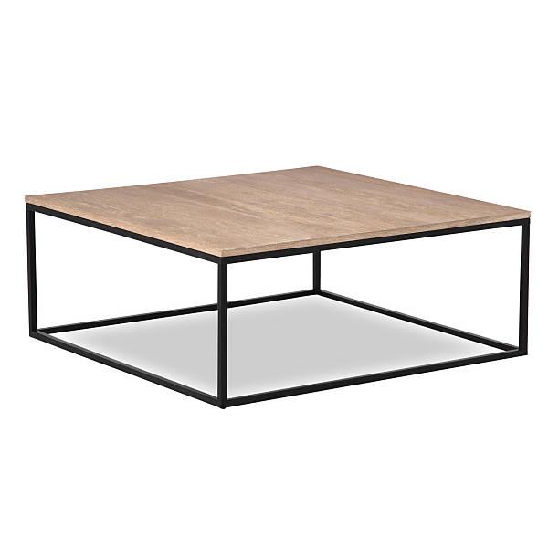 moda de ferro e madeira mesa de café isolado - coffee table imagens e fotografias de stock
