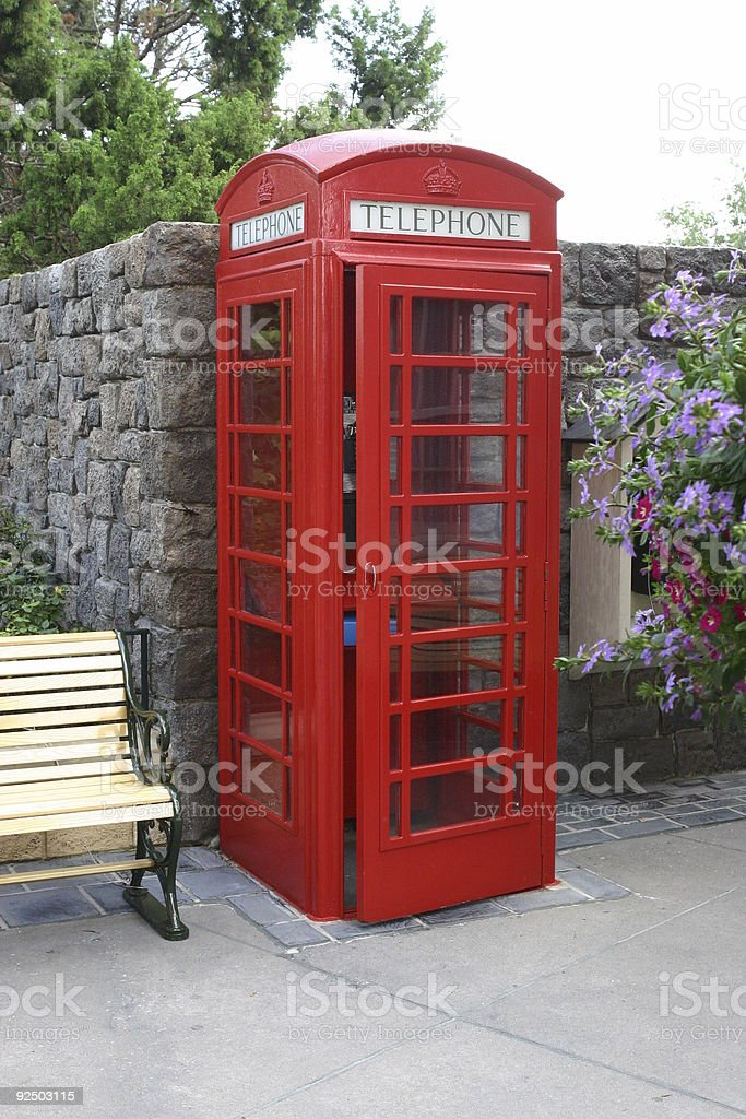 old fashion phone booth royalty-free stock photo
