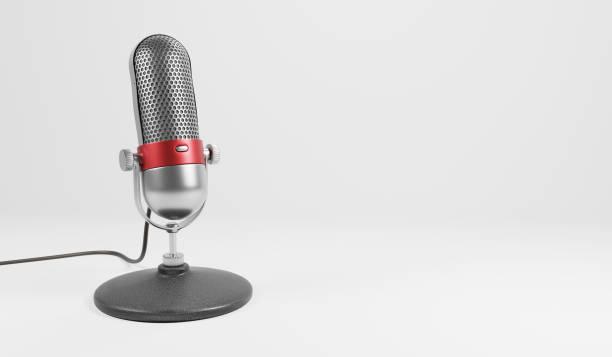 Old fashion retro microphone stock photo